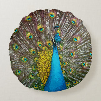Regal Peacock with Teal Blue and Gold Plumage Round Cushion