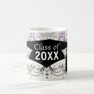 regal purple gray and cream damask graduation mugs