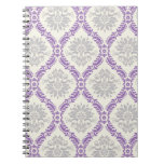 regal purple grey and cream damask design