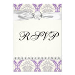 regal purple grey and cream damask design custom invitations