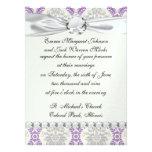 regal purple grey and cream damask design personalized invitation