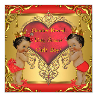 Regal Red Gold Gender Reveal Baby Shower Ethnic 13 Cm X 13 Cm Square Invitation Card