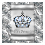 Regal Royal Blue Prince Baby Shower Personalized Announcement