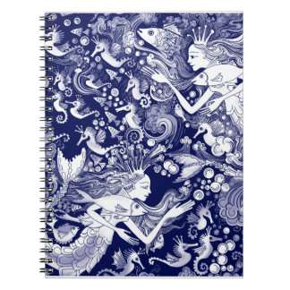 Regal Seahorse, with Mermaids and Bubbes Spiral Notebook