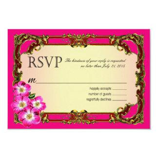 Regal Victorian Floral Favor   fuchsia 9 Cm X 13 Cm Invitation Card