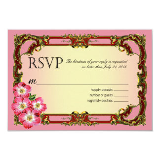 Regal Victorian Floral Favor | peony pink 9 Cm X 13 Cm Invitation Card