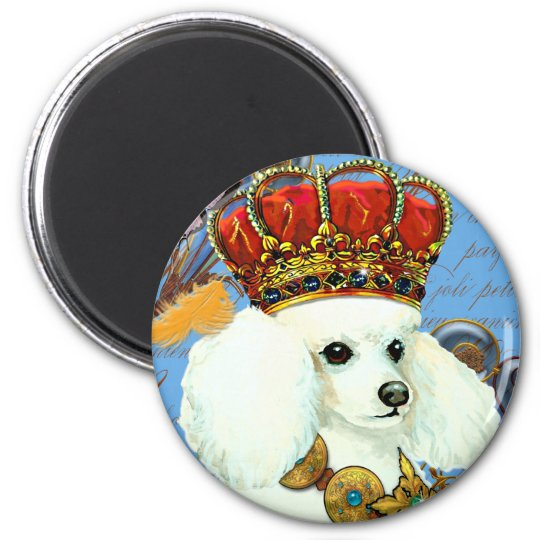 Regal White Poodle with Crown portrait 6 Cm Round Magnet
