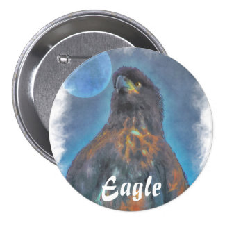 Regal Young Bald Eagle and Moon Painting 7.5 Cm Round Badge