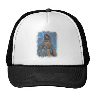Regal Young Bald Eagle and Moon Painting Mesh Hat
