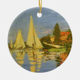 Regatta at Argenteuil by Claude Monet Round Ceramic Decoration
