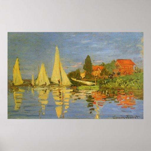 Regatta at Argenteuil by Claude Monet, Vintage Art Poster