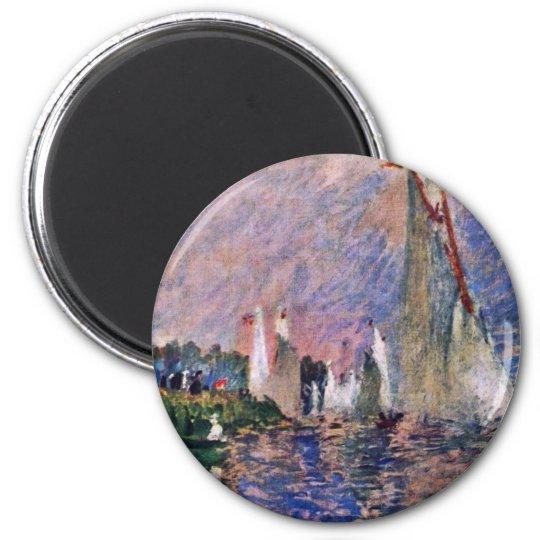 Regatta At Argenteuil By Pierre-Auguste Renoir 6 Cm Round Magnet
