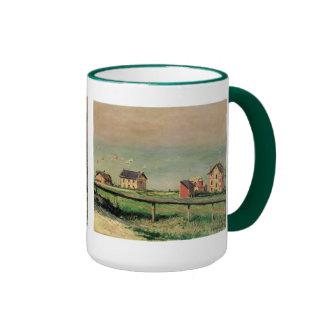 Regatta at Villerville by Caillebotte, Vintage Art Ringer Coffee Mug