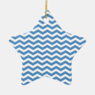 Regatta Blue And White Zigzag Chevron Pattern Christmas Ornament