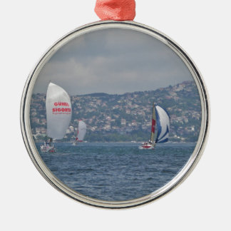 Regatta On The Bosporus Silver-Colored Round Decoration