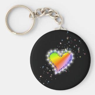 Regenbogen-Herz mit Sternchen auf schwarz Schlüsselband