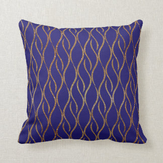 Regency Blue and Gold Decorator Accent Pillow