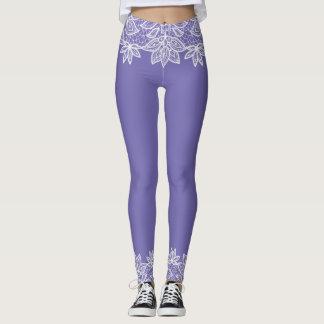 Regency Blue with Lace Look Spandex Leggings