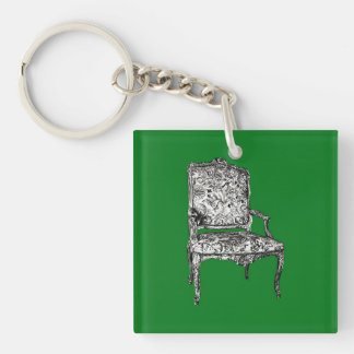 Regency chair in green Double-Sided square acrylic key ring