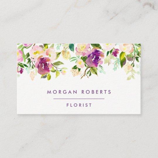 Regency Purple Floral Watercolor Florist Beauty Business Card