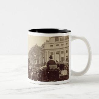 Regent Circus, London, c.1880 (sepia photo) Two-Tone Coffee Mug