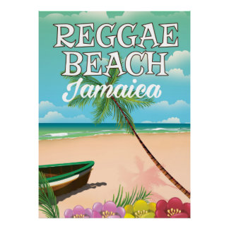 Reggae Beach Jamaica travel poster