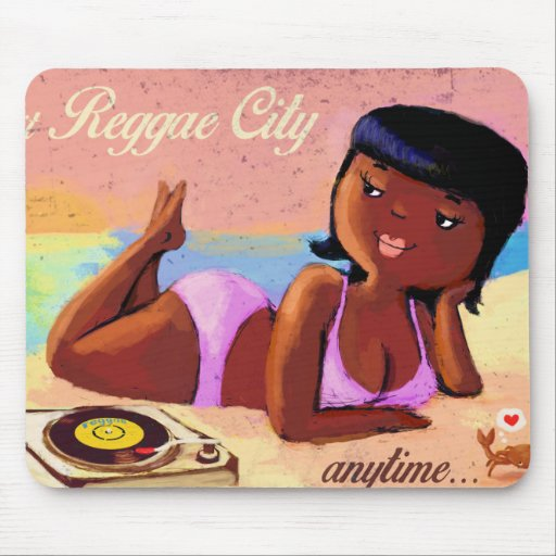 Reggae City Gal on The Beach Mouse Pads