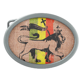 Reggae king lion oval belt buckle