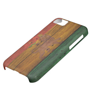 reggae lion crest on wood texture iPhone 5C case