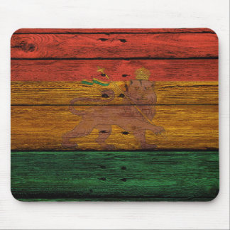 reggae lion crest on wood texture mouse mat