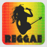 Reggae Music Rasta Rastaman Square Stickers