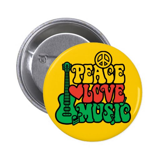 Reggae Peace Love Music Pin