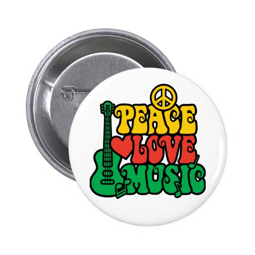 Reggae Peace Love Music Pinback Button