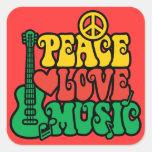 Reggae Peace Love Music Square Stickers