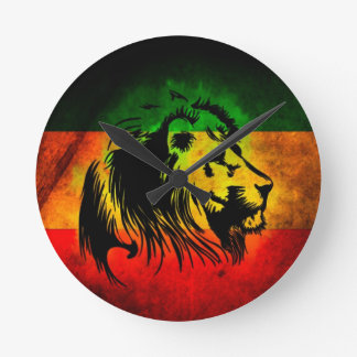 Reggae Rasta Lion Round Clock