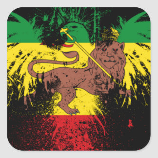 Reggae Rasta Lion Square Sticker