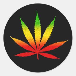 Reggae Rasta Rastafarian Leaf Round Stickers