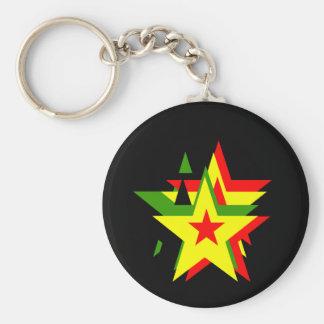 Reggae star basic round button key ring