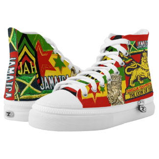Reggae Steppers Jamaican Rasta Hi Top Shoes Printed Shoes