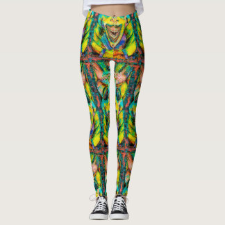 REGGAE TIKI MASK TRIBAL LEGGINGS