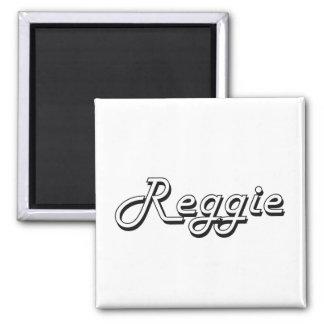 Reggie Classic Retro Name Design Square Magnet