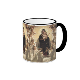 Regina Angelorum by Bouguereau, Victorian Angels Ringer Coffee Mug