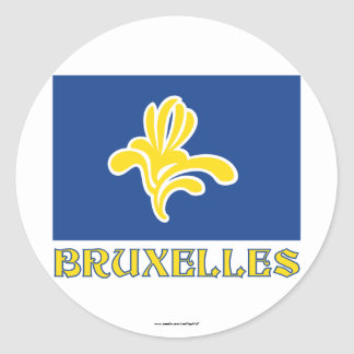 Region of Brussels Flag with Name (French) Classic Round Sticker