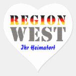 Region West - Ihr Heimatort Herz Aufkleber