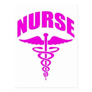 Register Nurse Caduceus Fuscia Postcard