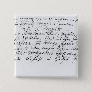 Register of Bach's wedding to Anna 15 Cm Square Badge