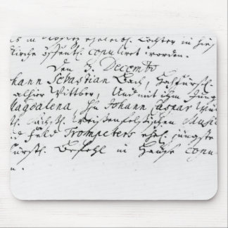 Register of Bach's wedding to Anna Mouse Pad