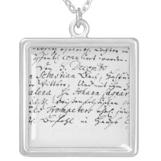 Register of Bach's wedding to Anna Square Pendant Necklace