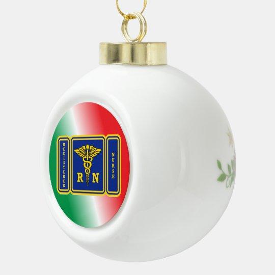 REGISTERED NURSE Caduceus Shield Ceramic Ball Decoration