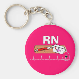 "Registered Nurse Gifts ""RN"" Basic Round Button Key Ring"
